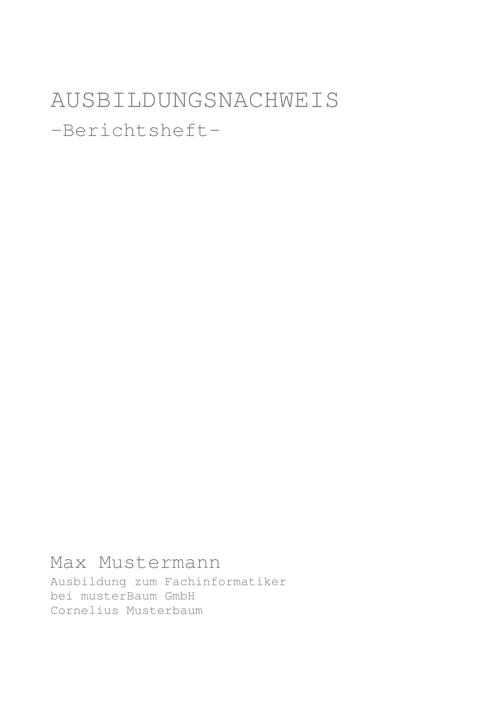 Deckblatt Berichtsheftme